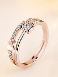 Недорогие -Жен. Белый Цирконий Кольцо Кольцо на кончик пальца Открытое кольцо Платиновое покрытие Позолоченное розовым золотом Искусственный бриллиант Сердце Стиль Простой европейский корейский Элегантный стиль