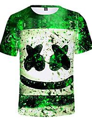 abordables -Enfants Garçon Actif Imprimé Manches Courtes Coton / Spandex Tee-shirts Vert