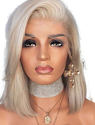 cheap -Synthetic Lace Front Wig Straight Style Side Part Lace Front Wig Blonde Platinum Blonde Synthetic Hair 12 inch Women's Adjustable / Heat Resistant / Women Blonde Wig Short Natural Wigs / Yes