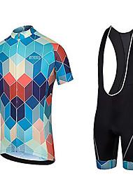 billiga -Malciklo Herr Kortärmad Cykeltröja med shorts - Blå / Svart Cykel sporter Enfärgad Bergscykling Vägcykling Kläder / Microelastisk