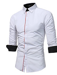 cheap -Men's Shirt - Solid Colored White XL