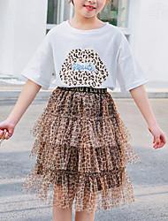 hesapli -Çocuklar Genç Kız Actif / Sokak Şıklığı Desen / Leopar Örümcek Ağı / Desen Kısa Kollu Normal Suni İpek / Polyester Kıyafet Seti Beyaz