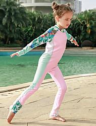 halpa -JIAAO Poikien Tyttöjen Skin-tyyppinen märkäpuku Sukelluspuvut Nopea kuivuminen Pitkähihainen Etuvetoketju - Uinti Vesiurheilu Patchwork Kesä / Erittäin elastinen / Lasten