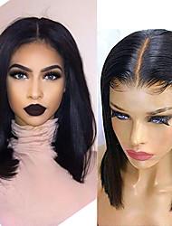 voordelige -Human Hair Capless Pruiken Echt haar Recht Korte Bob Stijl Feest / Dames / Beste kwaliteit Kort 6x13 Sluiting Pruik Braziliaans haar Dames