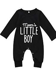 abordables -bébé Garçon Basique Imprimé Manches Longues Coton / Spandex Une-Pièce Noir