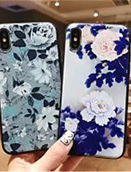 저렴한 -케이스 제품 Apple iPhone X / iPhone XS Max 반투명 / 패턴 뒷면 커버 꽃장식 소프트 실리카 젤 용 iPhone XS / iPhone XR / iPhone XS Max