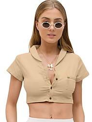 billige -T-skjorte Dame - Ensfarget Kakifarget S