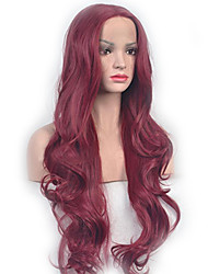 cheap -Synthetic Wig Wavy Style Middle Part Capless Wig Red Dark Wine Synthetic Hair 26 inch Women's Party Red Wig Long Natural Wigs
