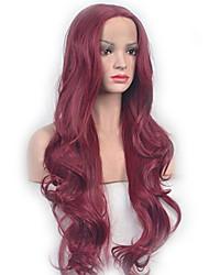 abordables -Pelucas sintéticas Ondulado Estilo Parte media Sin Tapa Peluca Rojo Vino oscuro Pelo sintético 26 pulgada Mujer Fiesta Rojo Peluca Larga Peluca natural