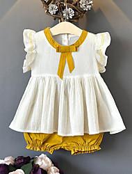 Недорогие -Дети Девочки Активный Уличный стиль Пэчворк Бант Пэчворк Без рукавов Обычный Набор одежды Желтый