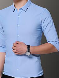 abordables -Hombre Camisa Un Color Azul Marino XXXL