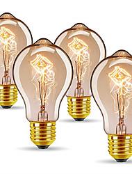 Недорогие -4шт 40 W E26 / E27 A60(A19) Тёплый белый 2300 k Ретро / Диммируемая / Декоративная Лампа накаливания Vintage Эдисон лампочка 220-240 V