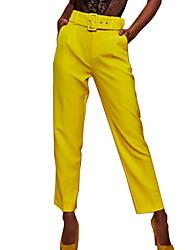 Недорогие -Жен. Классический Тонкие Чино Брюки - Однотонный Завышенная Желтый Пурпурный Хаки L XL XXL