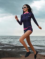 رخيصةأون -نسائي بدلات الغطس العميق حماية من الأشعة فوق البنفسجية خفيف جدا (UL) سريع جاف تيريليني كم طويل ملابس السباحة ملابس الشاطئ سترات للغوص بقع سباحة غوص / قابل للبسط