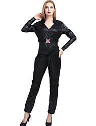 preiswerte -Superheld Cosplay Kostüme Erwachsene Damen Cosplay Halloween Halloween Karneval Maskerade Fest / Feiertage Polyester Schwarz Karneval Kostüme Solide