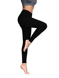 abordables -Femme Pantalon de yoga Noir Argent Des sports Couleur unie Collants Bas Entraînement de gym Tenues de Sport Respirable Doux Haute élasticité Slim