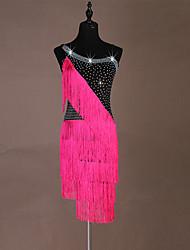お買い得  -ラテンダンス ドレス 女性用 性能 スパンデックス タッセル / クリスタル / ラインストーン ノースリーブ ドレス