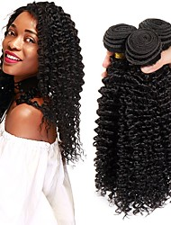 ieftine -3 pachete Păr Brazilian Kinky Curly Păr Remy Umane tesaturi de par pachet de par Extensii din Păr Natural 8-28 inch Culoare naturală Umane Țesăturile de par Cea mai buna calitate O noua sosire cald