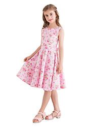 hesapli -Çocuklar Genç Kız Vintage / sevimli Stil Çiçekli Desen Kolsuz Diz-boyu Pamuklu Elbise Doğal Pembe