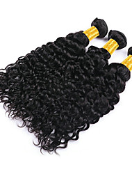 Недорогие -3 Связки Индийские волосы Волнистые Необработанные натуральные волосы Человека ткет Волосы Пучок волос Накладки из натуральных волос 8-28 дюймовый Естественный цвет Ткет человеческих волос