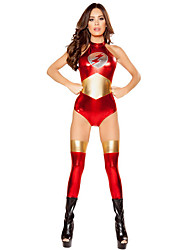 preiswerte -Superheld Cosplay Kostüme Erwachsene Damen Cosplay Halloween Halloween Karneval Maskerade Fest / Feiertage Polyester Rote Karneval Kostüme Patchwork
