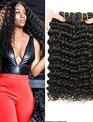 tanie -3 zestawy Włosy brazylijskie Deep Wave Włosy naturalne remy Nakrycie głowy Fale w naturalnym kolorze Doczepy 8-28 in Kolor naturalny Ludzkie włosy wyplata Miękka Moda Grube Ludzkich włosów