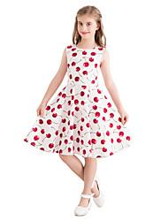 お買い得  -子供 女の子 ヴィンテージ かわいいスタイル 果物 プリント ノースリーブ 膝丈 コットン ドレス ホワイト