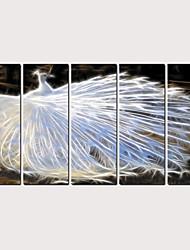 halpa -Painettu Valssatut kangasjulisteet - Abstrakti Eläimet Klassinen Moderni 5 paneeli