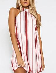 저렴한 -여성용 베이직 A 라인 드레스 - 줄무늬, 프린트 무릎 위
