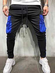 abordables -Hombre Deportivo Pantalones de Deporte Pantalones - A Rayas Azul Piscina