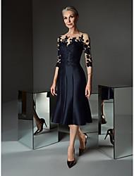 رخيصةأون -A-الخط باتو، نيك طول الساق دانتيل / ساتان فستان أم العروس مع دانتيل / طيات بواسطة LAN TING BRIDE®