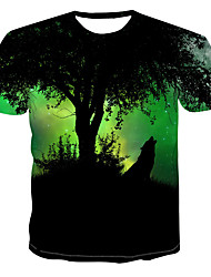 billiga -Tryck, Färgblock / 3D / Djur T-shirt Herr Grön XXXXL