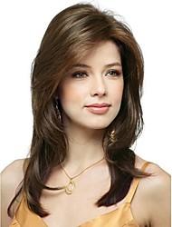 Χαμηλού Κόστους -Συνθετικές Περούκες Φυσικό ευθεία Στυλ Πλευρικό μέρος Χωρίς κάλυμμα Περούκα Καφέ Μπεζ Συνθετικά μαλλιά 20 inch Γυναικεία συνθετικός / Η καλύτερη ποιότητα / Φυσική γραμμή των μαλλιών Καφέ Περούκα