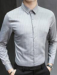 お買い得  -男性用 シャツ ストライプ グレー XL