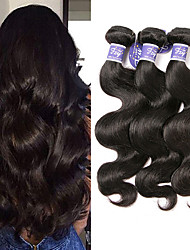 cheap -3 Bundles Peruvian Hair Body Wave Virgin Human Hair Unprocessed Human Hair Natural Color Hair Weaves / Hair Bulk Bundle Hair Human Hair Extensions 8-28 inch Natural Color Human Hair Weaves Odor Free