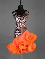 economico -Balli latino-americani Vestiti Per donna Prestazioni Elastene / Organza Più materiali Senza maniche Abito
