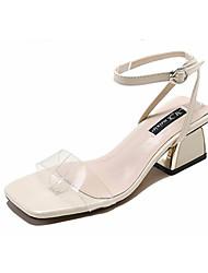 ราคาถูก -สำหรับผู้หญิง PU ฤดูร้อน ไม่เป็นทางการ รองเท้าแตะ ส้นหนา ผ้าขนสัตว์สีธรรมชาติ / ฟ้า / ลายบล็อคสี