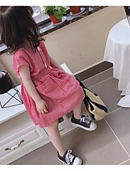 abordables -Bébé Fille Doux Damier Manches Courtes Mi-long Coton Robe Noir