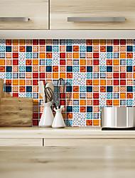 Недорогие -Мода цвет сетки сетки ПВХ водонепроницаемый самоклеющиеся наклейки на стену - плоскость наклейки на стену транспорт / ландшафтный кабинет / офис / столовая / кухня