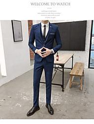 preiswerte -Dunkelmarine Gestreift Reguläre Passform Polyester Anzug - Fallendes Revers Einreiher - 1 Knopf