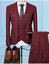 billige -Burgunder / Svart / Navyblå rutete Slank Fasong Polyester Dress - Med hakk Enkelt Brystet Enn-knapp