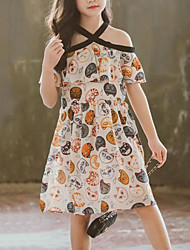 cheap -Kids Girls' Boho / Street chic Patchwork / Cartoon Patchwork / Print Sleeveless Polyester Dress Beige