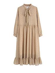 abordables -Femme Midi Mousseline de Soie Robe Beige S M L Manches Longues