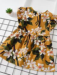 abordables -Bébé Fille Actif / Le style mignon Feuille tropicale Plantes / Fleur Imprimé Manches Courtes Au dessus du genou Coton Robe Noir