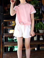 abordables -Enfants Fille Actif / Basique Couleur Pleine Garniture en dentelle Manches Courtes Normal Normal Coton / Spandex Ensemble de Vêtements Rouge