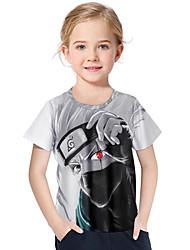 abordables -Enfants / Bébé Fille Actif / Basique Géométrique / Imprimé Imprimé Manches Courtes Polyester / Spandex Tee-shirts Gris
