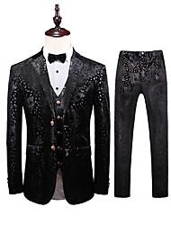 preiswerte -Schwarz Mit Mustern Reguläre Passform Polyester Anzug - Fallendes Revers Einreiher - 2 Knöpfe