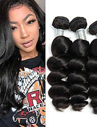billige -3 Bundler Indisk hår Løst, bølget hår Jomfruhår 100% Remy Hair Weave Bundles Bundle Hair Hårstykke med lukning 8-28 inch Naturlig Farve Menneskehår Vævninger Lugtfri Dame Nem dressing Menneskehår