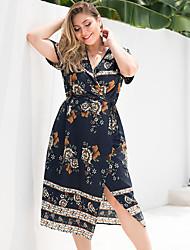 preiswerte -Damen Grundlegend Boho A-Linie Hülle Kleid - Gespleisst, Blumen Midi