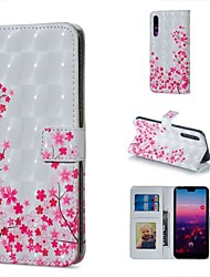 baratos -Capinha Para Huawei P20 lite / Huawei P30 Pro Carteira / Porta-Cartão / Com Suporte Capa Proteção Completa Flor Rígida PU Leather para Huawei P20 Pro / Huawei P20 lite / Huawei P30